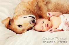 Newborn photography with dog!  this is so a riley pose!