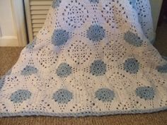 Crocheted Blue Baby Blanket by donnascrochet on Etsy