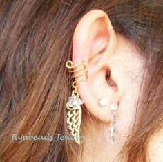 Gold Angel Wing Ear Cuff.