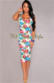 Ivory Multi-Color Floral Print Midi Dress