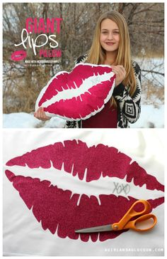 giant lip pillow--fun diy for a teen bedroom. Made with expressions vinyl
