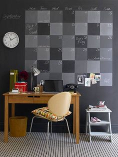 Love the wall calendar. Perhaps use a magnetic paint with a chalkboard paint over the top of it. #officespaces #inspirational #organization