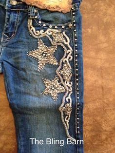 Montana West Trinity Ranch Jeans Rhinestone Bling Western TR013 pick size Stars #MontanaWestTrinityRanch #BootCut