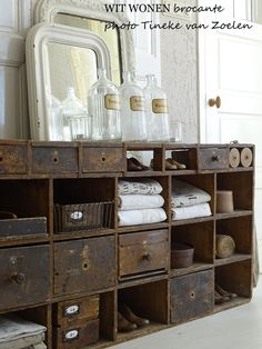 Farmhouse country rustic and shabby chic style for a bathroom vanity or a guest bedroom dresser drawer idea | home decor that makes vintage look super cool