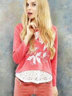 Red Applique Long Sleeve T-shirt With Lace Hem