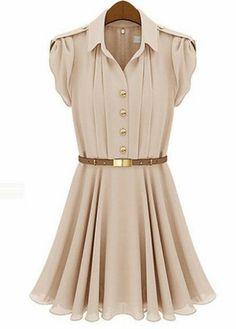 Toplama Yaka Puff Kol Şifon Mini Gömlek Elbise