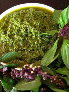 Spicy Asian Pesto (basil, mint, cilantro, chili, peanuts, pine nuts, garlic, lime juice and oil)