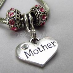 Mother Heart Birthstone Trio For Large Hole European Charm Bracelets