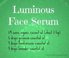 Curious about coconut oil?  One use is in this luminous face serum.  You skin will look wonderful!  via www.backdoorsurvival.com