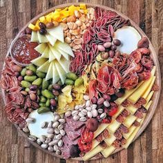 So much deliciousness on one platter! Terrific creation by Charcuterie Recipes, Charcuterie And Cheese Board, Charcuterie Platter, Antipasto Platter, Cheese Boards, Meat And Cheese, Cheese Platters, Appetizer Recipes, Appetizers
