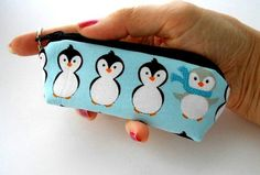 Mini Key Chain Zipper Pouch ECO Friendly Padded Lip Balm Case NEW Blue Penguins by JPATPURSES, $5.00