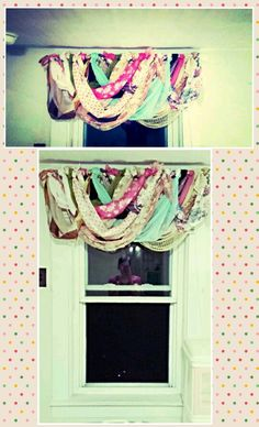 I used vintage silk scarves for my daughters window treatments in her bedroom. I started out by tying one end of each to the rod then begin tying the other to form loops. Then intertwine them until you achieve the pattern and fullness you prefer.