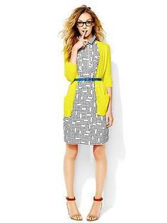 printed dress, bright cardigan, belted