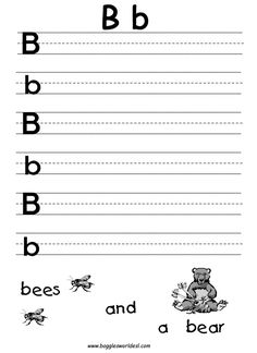 pre k alphabet worksheets printables | Big and Little B Writing Worksheet