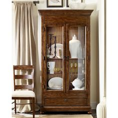 Hooker Furniture Cecile Display Cabinet ($2,299) ❤ liked on Polyvore featuring home, furniture, storage & shelves, display units, wood, handmade furniture, shelf furniture, outdoor shelves, outdoor shelving and outdoor furniture