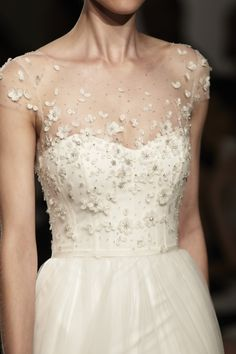 """Hayden"" Christos Spring 2016 - Floral hand beaded bodice with soft tulle skirt."
