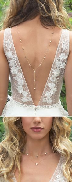 The ultimate backdrop necklace for a V-shape low back dress! This Y Lariat CZ chain backdrop necklace is the perfect accessory. Easy to wear, hangs over your shoulders. The front necklace features 2 r