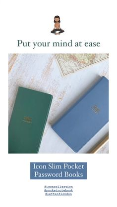 Put your mid at ease with Letts of London Password Notebooks. Shown here, Icon Slim Pocket Password Notebooks in Green and Blue. Available at lettsoflondon.com #password #passwords #notebooktherapy #quickgifts #handythings #passwordjournal #passworddiary #secretnotebook #recordkeeping #notebook #lettsoflondon #diary #journal Mid Century Modern Colors, Secret Notes, London Icons, Modern Color Palette, Pocket Notebook, Icon Collection, Write It Down, Paper Cover, To Focus