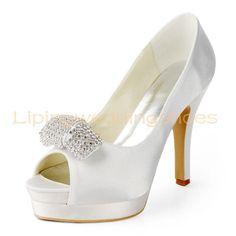 ivory satin bridal shoes peep toe shoes by Lipingweddingshoes, $124.00