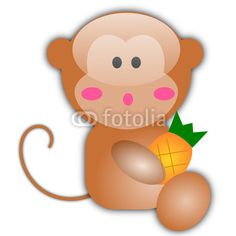 Vector illustration of cute monkey isolated on white background. animals, fruits, food, nutrition, cartoon, clip, vector, svg, image, design, graphic, glossu, aqua, bananas, think, eating, face, kids, children, child, youth, young, background, elisa bistocchi, head, face.