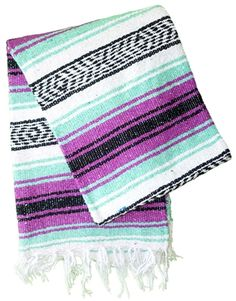 Mint Magenta Mexican Falsa Blanket from Mexico.  Shop for authentic Mexican blankets with unique southwestern designs and patterns.  Mexican blankets are great for the beach, yoga classes, and Pilates.