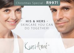 Treat yourself to our SPECIAL OFFER. One skincare range set for both of you for the incredible price of only R997.  Limited time only.  With no preservatives, R386 off AND FREE delivery in SA.  Why not try #TheKuriAméWay today