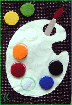 Artist's palette quiet book page Write the colors along the palette to help them learn color words/matching. Diy Quiet Books, Baby Quiet Book, Felt Quiet Books, Silent Book, Quiet Time Activities, Family Activities, Indoor Activities, Summer Activities, Quiet Book Patterns