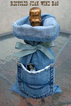 Cathie Filian: Make it: Denim Wine Bags - recycled
