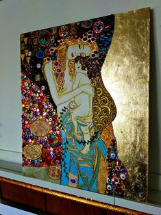 Klimt Art, Gustav Klimt, Baby Painting, Love Painting, Colorful Wall Art, Colorful Paintings, Mother And Child Painting, Wal Art, Gold Leaf Art