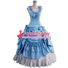 Free Shipping Gothic Lolita Punk Medieval Gown Light Blue and Black Ball Long…