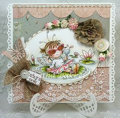 Fairy cute LOTV creation by Gretha Bakker. Diy Cards, Your Cards, Hand Stamped Cards, Greeting Cards Handmade, Cardmaking, Birthday Cards, Projects To Try, Fairy, Paper Crafts