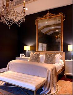 36 Ideas de Dormitorios con Diseño Barroco Moderno - Decorar tu dormitorio, habitación, recamara o cuarto Glam Bedroom, Home Decor Bedroom, Master Bedroom, Black Rooms, Luxurious Bedrooms, Dark Bedrooms, My New Room, Beautiful Bedrooms, Room Inspiration