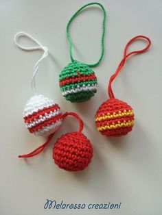 Christmas balls amigurumi crochet ornament for the Christmas tree, Christmas gift cotton. Christmas tree country chic