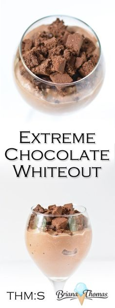 This Extreme Chocolate Whiteout is my healthy take on the Chocolate Xtreme DQ Blizzard and is THM:S, low carb, sugar free, and gluten/peanut free. Sugar Free Treats, Sugar Free Desserts, Sugar Free Recipes, Low Carb Desserts, Healthy Desserts, Dessert Recipes, Healthy Drinks, Healthy Recipes, Trim Healthy Mama Diet