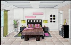 Bedroom Drawing One Point Perspective 2Nd Point Of View Room In Drawing  Bedroom Interior Perspective