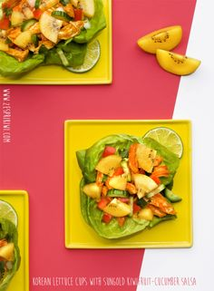 Spice up dinner with these Korean Lettuce wraps with SunGold Kiwifruit - Cucumber Salsa. Recipe here: http://zesprikiwi.com/kiwifruit-recipes/main-course/korean-lettuce-cups-with-sungold-kiwifruit-cucumber-salsa