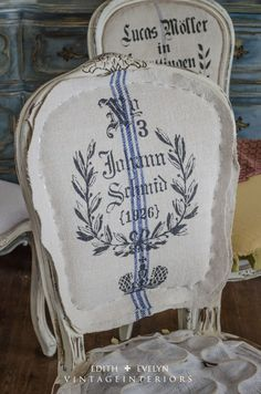 Upholstery tutorial with sources for stencils and grain sacks