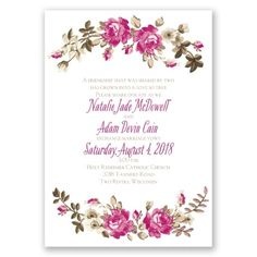Floral Beauty Wedding Invitations at Invitations By Dawn