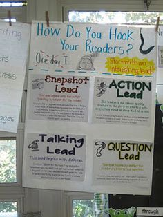 Lead sentences...hook your readers! This chart talks about the different types of leads writers use. Have students write a short story that starts with a different type of lead every day for a week.