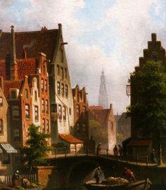 Eduard Alexander Hilverdink (Amsterdam 1846-1891) Bedrijvigheid aan de Langebrugsteeg - Kunsthandel Simonis en Buunk, Ede (Nederland).