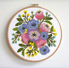 Easy Cross Stitch Patterns, Simple Cross Stitch, Cross Stitch Flowers, Floral Embroidery Patterns, Modern Embroidery, Embroidery Designs, Pattern Designs, Size 14, Pattern Flower