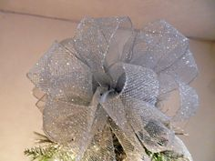 Large Silver glitter mesh Christmas Tree topper bow by creativelycarole on Etsy