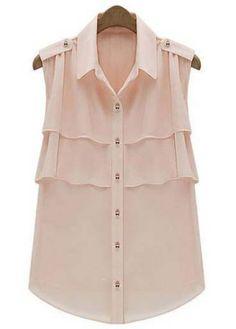 Light Pink Lapel Sleeveless Cascading Ruffle Chiffon Blouse