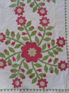 Detail, Antique Quilt. Whig Rose. Applique. 1800s. Double Sawtooth Border. Very Tiny Stitching, Etsy, rubisco