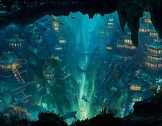 Cyberpunk City inspired by recent trip to Tokyo. Fantasy City, Fantasy Places, Fantasy World, Fantasy Art Landscapes, Fantasy Landscape, Landscape Art, Fantasy Concept Art, Fantasy Artwork, Underwater City