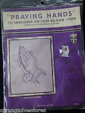 Praying Hands To Embroider on Pure Belgian Linen Embroidery 12 x 15 in