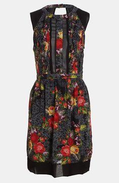ASTR Sheer Panel Print Dress