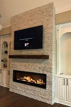 Custom fireplace design - Direct Vent Linear fireplace by Travis Industries. - Custom fireplace design – Direct Vent Linear fireplace by Travis Industries. Modern Fireplace Decor, Living Room Decor Fireplace, Fireplace Tv Wall, Linear Fireplace, Custom Fireplace, Rustic Fireplaces, Fireplace Remodel, Fireplace Design, Direct Vent Fireplace