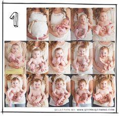1歳になるまでの一年間、毎月赤ちゃんの素敵な写真を撮ってみませんか?同じいすの上で撮ったり、お気に入りのぬいぐるみと 一緒に撮ったりすると日々の成長がよくわかります。気付かないうちに成長している赤ちゃんをかわいく撮れる写真のアイデア集です。