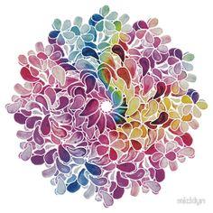 Rainbow Watercolor Paisley Flower